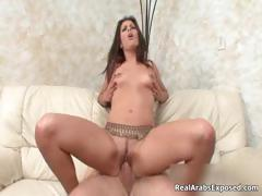 Horny Arab termagant gets the brush trimmed pussy part2