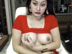 indian pro masturbates hither saree ohmibod lovense