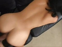 Indian pornstar fucking with white guy in sofa  -