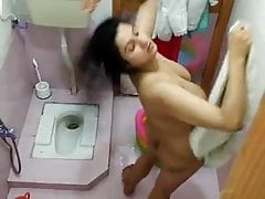 Indian Desi bhabhi denuded take a shower aunty