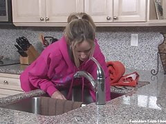 Stepmom, shower screwing with an increment of creampie