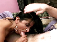 hairy latin milf pleases two cocks